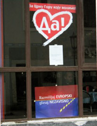 A pro-independence poster displayed in an empty shop window in Cetinje: its message is that a 'Da' (Yes) vote is a vote for Europe